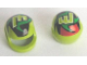 Part No: 2446pb19  Name: Minifigure, Headgear Helmet Motorcycle (Standard) with Lime M, Black/Red/Green Pattern