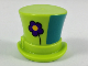 Part No: 27149c01  Name: Minifigure, Headgear Hat, Top Hat with Ribbon with Dark Purple Flower and Green Left Side Pattern