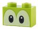 Part No: 3004pb206  Name: Brick 1 x 2 with Eyes Blue and Black on White Background Pattern (Yoshi)