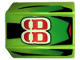 Part No: 30602pb010  Name: Slope, Curved 2 x 2 Lip, No Studs with '88', Green Fade/Black Stripes Pattern