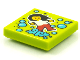 Part No: 3068bpb1560  Name: Tile 2 x 2 with Groove with BeatBit Album Cover - Dancing Girl and Medium Azure Bubbles Pattern