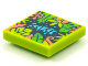 Part No: 3068bpb1581  Name: Tile 2 x 2 with Groove with BeatBit Album Cover - Coral, Lime and Bright Green Tree Leaves Pattern
