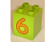 Part No: 31110pb026  Name: Duplo, Brick 2 x 2 x 2 with Number 6 Orange Pattern