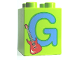 Part No: 31110pb049  Name: Duplo, Brick 2 x 2 x 2 with Letter G and Guitar Pattern