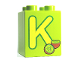Part No: 31110pb053  Name: Duplo, Brick 2 x 2 x 2 with Letter K and Kiwi Pattern