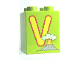 Part No: 31110pb064  Name: Duplo, Brick 2 x 2 x 2 with Letter V and Volcano Pattern