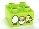 Part No: 3437pb050  Name: Duplo, Brick 2 x 2 with Chicks and Hatching Eggs Pattern