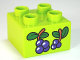 Part No: 3437pb054  Name: Duplo, Brick 2 x 2 with Berries and Leaves Pattern