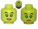 Part No: 3626bpb1138  Name: Minifigure, Head Dual Sided Alien Female with Bright Green Eyes, Flesh Lips, Smile / Frown Pattern (SW Hera Syndulla) - Blocked Open Stud