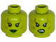 Part No: 3626cpb1166  Name: Minifigure, Head Dual Sided Alien Female Silver Tattoos, Eyelashes, Green Lips, Smile / Angry Pattern - Hollow Stud