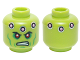 Part No: 3626cpb1229  Name: Minifigure, Head Alien with Red Eyes, Green Cheek Lines, Dark Pink Circles and Scowl Pattern (Brainiac) - Hollow Stud