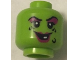 Part No: 3626cpb2238  Name: Minifigure, Head Female Magenta Lips and Eye Shadow, Black Wart and Wrinkles, Smile with One White Tooth Pattern - Hollow Stud