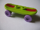 Part No: 42511c03pb14  Name: Minifigure, Utensil Skateboard with Trolley Wheel Holders with Dark Red Stripe Pattern and Medium Lavender Trolley Wheels (42511pb14 / 2496)