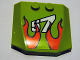 Part No: 45677pb064  Name: Wedge 4 x 4 x 2/3 Triple Curved with Flames and '57' Pattern (Sticker) - Set 8165