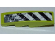 Part No: 61678pb025L  Name: Slope, Curved 4 x 1 with Black and White Danger Stripes and Splatters Pattern Model Left Side (Sticker) - Set 8961