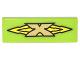 Part No: 63864pb058  Name: Tile 1 x 3 with Gold 'X' Logo on Yellow Arrows Pattern (Sticker) - Set 70620