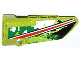 Part No: 64391pb010  Name: Technic, Panel Fairing # 4 Small Smooth Long, Side B with Red and White Stripe on Black, White and Green Camouflage Pattern (Sticker) - Set 42027