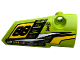 Part No: 64391pb052  Name: Technic, Panel Fairing # 4 Small Smooth Long, Side B with '88', Fuel Hole, Yellow and White Stripes on Lime Background Pattern (Sticker) - Set 42072
