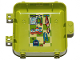 Part No: 64454pb01  Name: Container, Box 3 x 8 x 6 2/3 Half Back with Towel, Bottles, Stethoscope, Leash and Collar Pattern (Sticker) - Set 41403