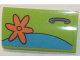 Part No: 88930pb074L  Name: Slope, Curved 2 x 4 x 2/3 with Bottom Tubes with Orange Flower and Door Handle Pattern Model Left Side (Sticker) - Set 75902