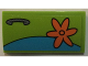 Part No: 88930pb074R  Name: Slope, Curved 2 x 4 x 2/3 with Bottom Tubes with Orange Flower and Door Handle Pattern Model Right Side (Sticker) - Set 75902