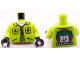 Part No: 973pb1005c01  Name: Torso Batman Jacket with Pockets and Zipper, Joker Logo on Back Pattern / Lime Arms / Black Hands