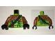 Part No: 973pb2480c01  Name: Torso Ninjago Snake with Dark Orange Armor, Dark Green Crossbelt and Red Vial Pattern (Zoltar) / Dark Orange Arms / Black Hands
