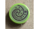Part No: 98138pb069  Name: Tile, Round 1 x 1 with Dark Brown Swirl / Wave on Olive Green Background Pattern