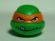 Part No: 12607pb01  Name: Minifigure, Head Modified Ninja Turtle with Orange Mask and Tongue Out Pattern (Michelangelo)