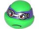 Part No: 12607pb11  Name: Minifigure, Head Modified Ninja Turtle with Dark Purple Mask and Goggles Pattern (Donatello)
