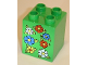 Part No: 31110pb037  Name: Duplo, Brick 2 x 2 x 2 with 7 Flowers Pattern