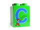Part No: 31110pb045  Name: Duplo, Brick 2 x 2 x 2 with Letter C and Cowboy Pattern