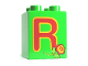 Part No: 31110pb060  Name: Duplo, Brick 2 x 2 x 2 with Letter R and Rose Pattern