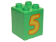 Part No: 31110pb077  Name: Duplo, Brick 2 x 2 x 2 with Number 5 Yellow Pattern