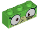 Part No: 3622pb079  Name: Brick 1 x 3 with Cat Face Wide Eyes and Olive Green Lower Eyelid, Sick Expression with Closed Mouth Pattern (Queasy Unikitty)