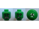 Part No: 3626bpb0723  Name: Minifigure, Head Dual Sided Alien with Raging / Scowl Pattern (Hulk) - Blocked Open Stud