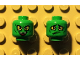 Part No: 3626cpb1448  Name: Minifigure, Head Dual Sided Alien with Yellow Eyes, Wicked Smile / Downturned Mouth with 1 Fang Pattern (Green Goblin) - Hollow Stud