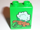 Part No: 4066pb153  Name: Duplo, Brick 1 x 2 x 2 with Cauliflower, Peas and Potatoes Pattern