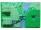 Part No: 44510pb02  Name: Baseplate, Raised 32 x 48 x 6 with Front and Back Steps and Medium Blue and Green Garden Pattern