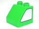 Part No: 6474pb32  Name: Duplo, Brick 2 x 2 x 1 1/2 Slope 45 with Metallic Silver Window Pattern on Both Sides