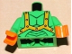 Part No: 973pb0699c01  Name: Torso Alien with Muscles Outline and Orange Straps Pattern / Bright Green Arms / Orange Hands