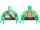 Part No: 973pb1369c01  Name: Torso Turtle Shell with Dark Brown Horizontal and Diagonal Belt with Gold Ring Pattern / Bright Green Arms / Bright Green Hands
