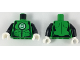 Part No: 973pb3297c01  Name: Torso Female Muscles Outline with Green Lantern Logo in White Circle, Black Shoulders and Belt Line Pattern / Black Arms / White Hands
