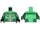Part No: 973pb3501c01  Name: Torso SW Jacket, Silver Shirt and Buckle Pattern / Dark Green Arms / Black Hands