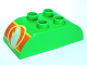 Part No: 98223pb003  Name: Duplo, Brick 2 x 4 Curved Top with Wing in Circle on Orange Background Pattern on Both Ends