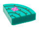 Part No: 25269pb020  Name: Tile, Round 1 x 1 Quarter with Bright Green Cactus lines and Magenta and Dark Pink Flower Pattern