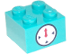 Part No: 3003pb116  Name: Brick 2 x 2 with Timer Black Circle and Indicators with Red Hand on White Background Pattern