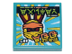 Part No: 3068bpb1512  Name: Tile 2 x 2 with Groove with Ninjago Logogram 'Easter Egg' and Reddish Brown Bunny Wearing Yellow and Orange Ninjago Wrap Pattern (Sticker) - Set 71741