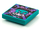 Part No: 3068bpb1586  Name: Tile 2 x 2 with Groove with BeatBit Album Cover - Dark Turquoise Minifigure, Black Hat and Dark Purple Headphones Pattern