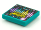 Part No: 3068bpb1608  Name: Tile 2 x 2 with Groove with BeatBit Album Cover - Pink, Yellow, Dark Turquoise and Dark Purple Stripes, Lines and Dots Pattern